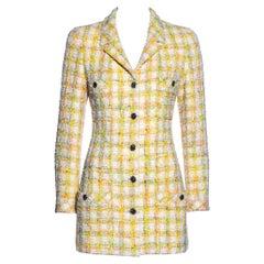 Chanel by Karl Lagerfeld pastel tweed mini dress jacket, ss 1996