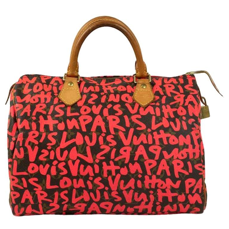 Louis Vuitton, Speedy Graffiti in red canvas For Sale
