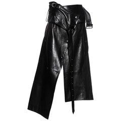 John Galliano black leather deconstructed wrap skirt, c. 2002