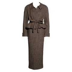 Chanel by Karl Lagerfeld brown tweed pleated jacket maxi skirt suit, fw 1998