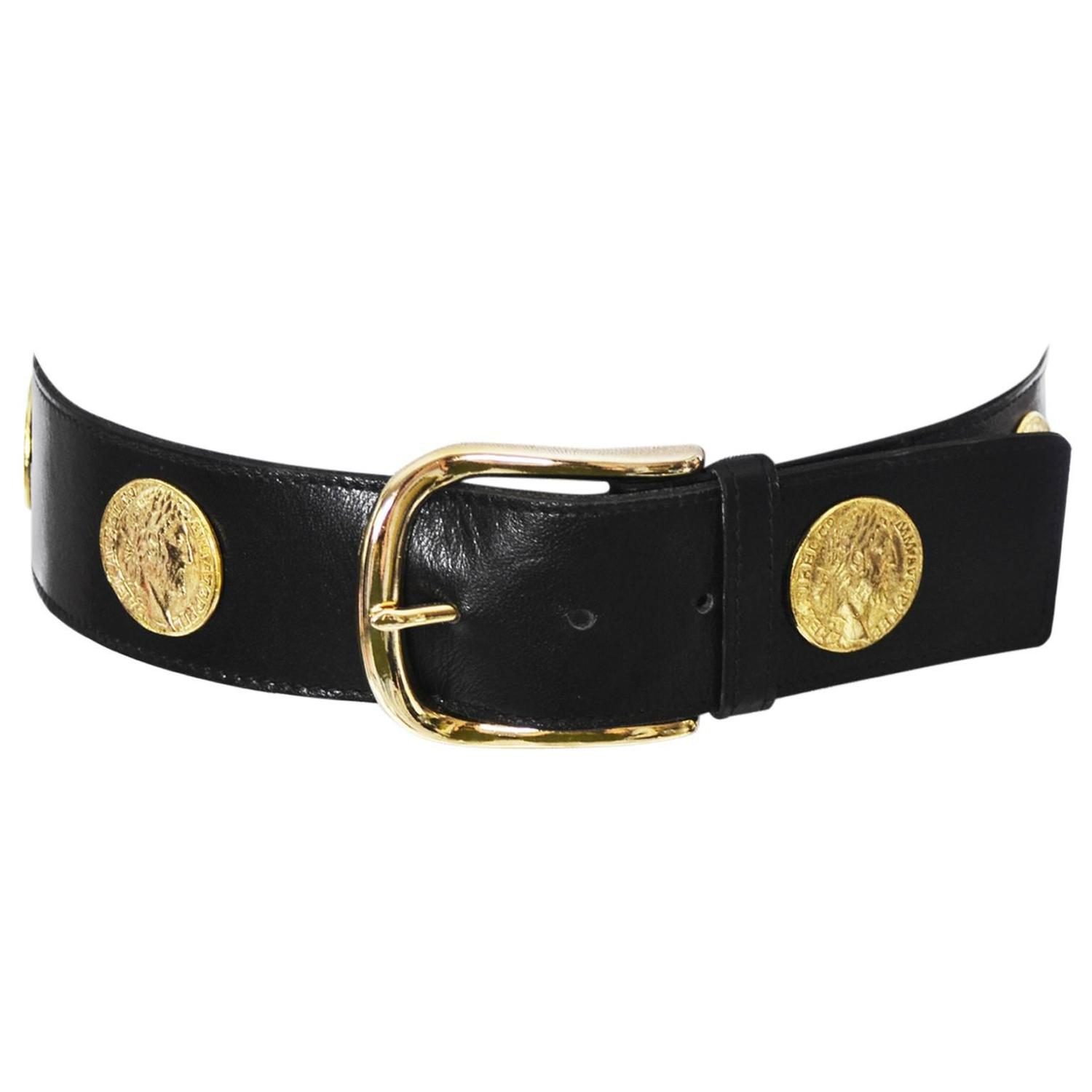 Ysl 1980s Vintage Belt Yves Saint Laurent Coins Medium For