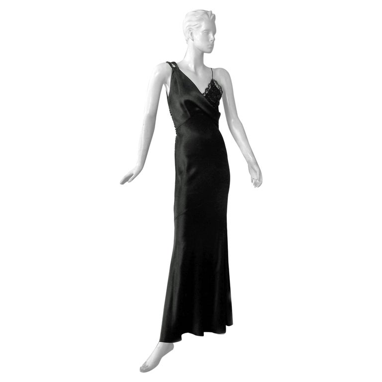 Christian Dior Deco Inspired Rich Black Bias Cut Gown For Sale