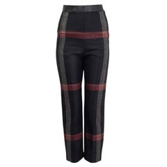 HERMES black red wool 2020 PLAID Pants 34 XXS