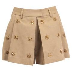 ERMANNO SCERVINO beige cotton CRYSTAL EMBELLISHED Shorts Pants 40 S