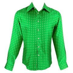 WALTER VAN BEIRENDONCK SS 20 Size S Green & White Dots Silk Up Long Sleeve Shirt