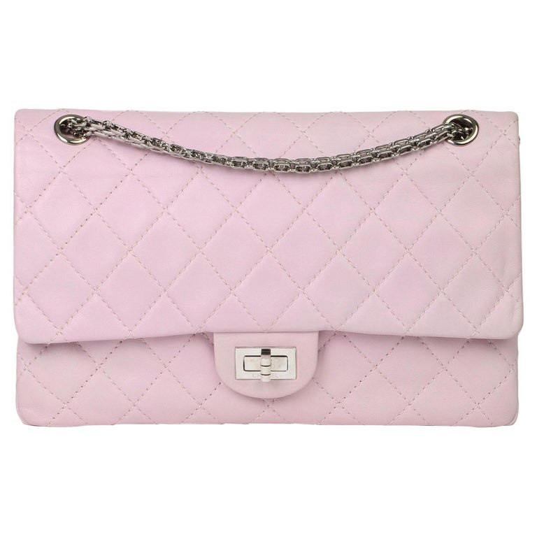 2009 Chanel Sakura Pink Quilted Lambskin 2.55 Reissue 226 Flap Bag For Sale