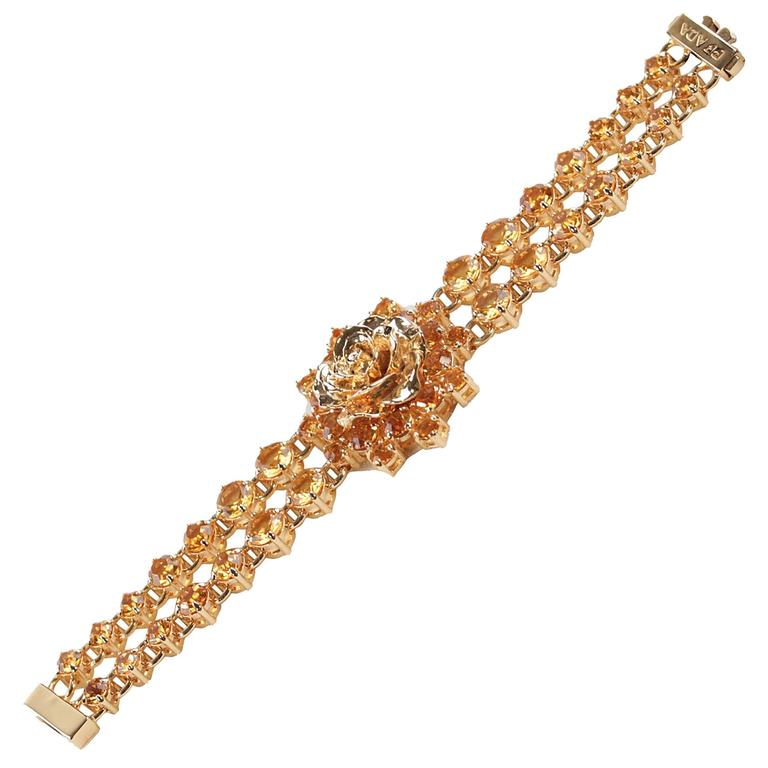 PRADA Italian Gold Metal RHINESTONES Rose Flower BRACELET 1AJJ29 w/ BOX For Sale