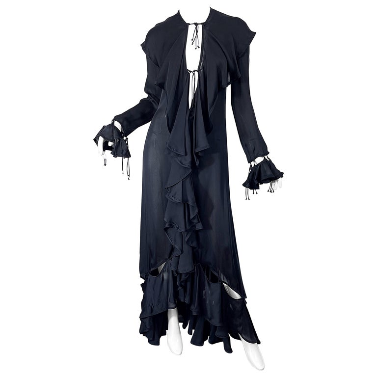 Yves Saint Laurent by Tom Ford Fall 2003 Runway Black Silk Chiffon Gown Size 38 For Sale