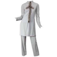 Givenchy Couture Alexander McQueen F/W 2003 Grey Runway Tunic + Slim Pants