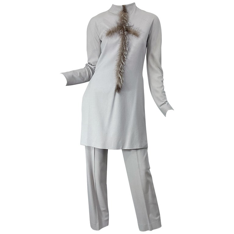 Givenchy Couture Alexander McQueen F/W 2003 Grey Runway Tunic + Slim Pants For Sale