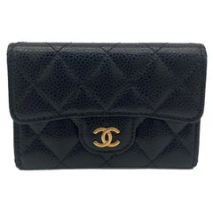 Chanel Black Caviar Quilted Snap Wallet