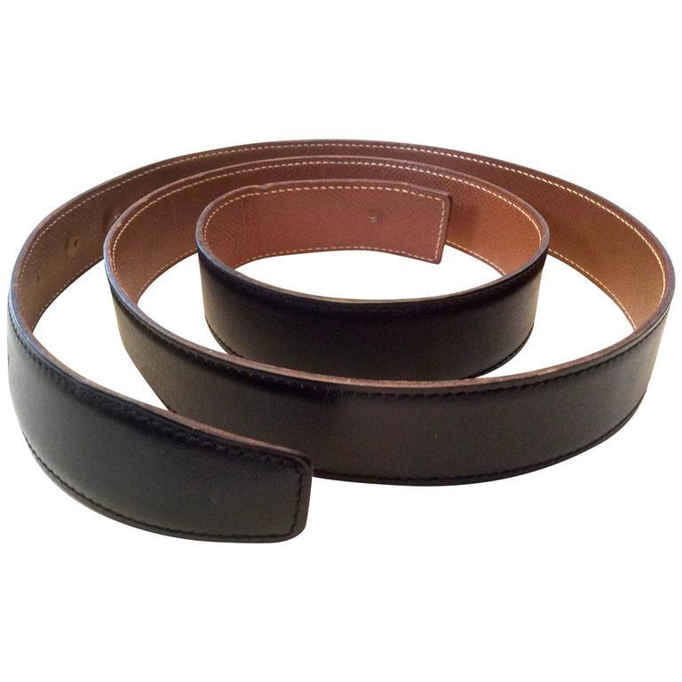 hermes belt smooth black and caramel brown size 105 at