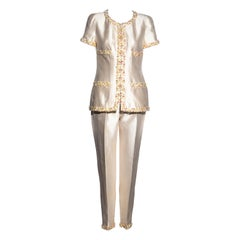 Chanel by Karl Lagerfeld ivory silk embellished evening pant suit, ss 1996