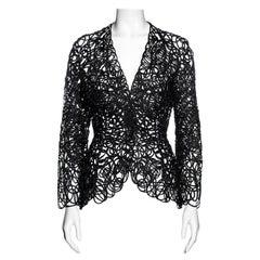 Thierry Mugler black raffia lace sculpted jacket, ss 1999