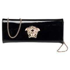Versace Black Patent Leather Medusa Chain Clutch