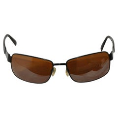 Revo Black Curved-Style Black Metal with Black Lucite Arms Sunglasses