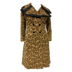 1970 Superfly Style Collar Leopard Print Stencil Suede Coat W/ Leather Trim