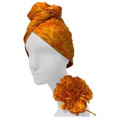 1960 Saks Silk Orange & Yellow Floral Print Turban W/ Twisted Knot & Corsage