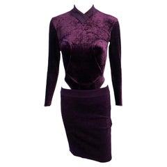 Azzedine Alaia F/W 1991 Vintage Chenille Skirt and Bodysuit Top 2 Piece Set