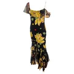 John Galliano S/S 2004 Floral Print Bias Cut Silk Slip Maxi Evening Dress Gown