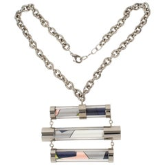 Emilio Pucci Futuristic Chrome Metal and Silk Abstract Choker Necklace