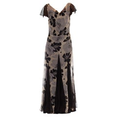 1930S Grey & Black Silk Chiffon Floral Dress