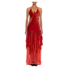 MORPHEW COLLECTION Tomato Red & Gold Antique 1920'S Silk Velvet Backless Gown