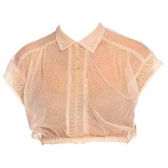 1950S Blush Pink Dupont Nylon Mesh Shirred Trim Cropped Blouse