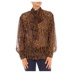 1990S Brown & Black Leopard Silk Chiffon Mixed Scale Print Blouse