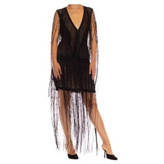 1990S PLEIN SUD Black Silk Chiffon Beaded Fringe & Passementarie Trim Dress
