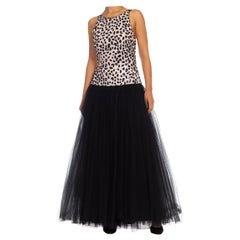 1980S Black & White Sequined Silk Acetate Blend Tulle Gown