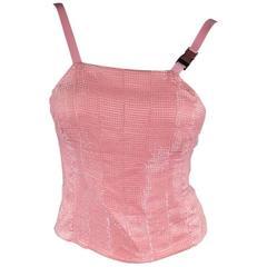 PRADA Size 2 Pink Beaded Silk Buckle Camisole Dress Top