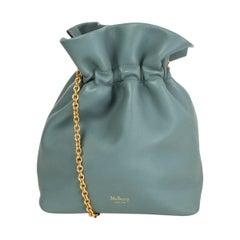 MULBERRY Antique Celeste green-blue leather LYNTON MINI Bucket Bag