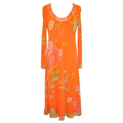 Leonard of Paris Lovely Powder-Tangerine Floral Print Zippered-Back Jersey Dress