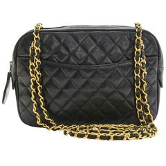 Chanel Vintage Black Quilted Lambskin Gold Chain Hardware Camera Shoulder Bag