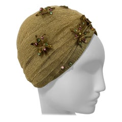 1960 Christian Dior Gold Mesh Turban W/ Metallic Jeweled Flowers By Marc Bohan