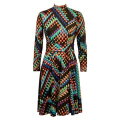 Colorful Late 1960's Op Art Dress