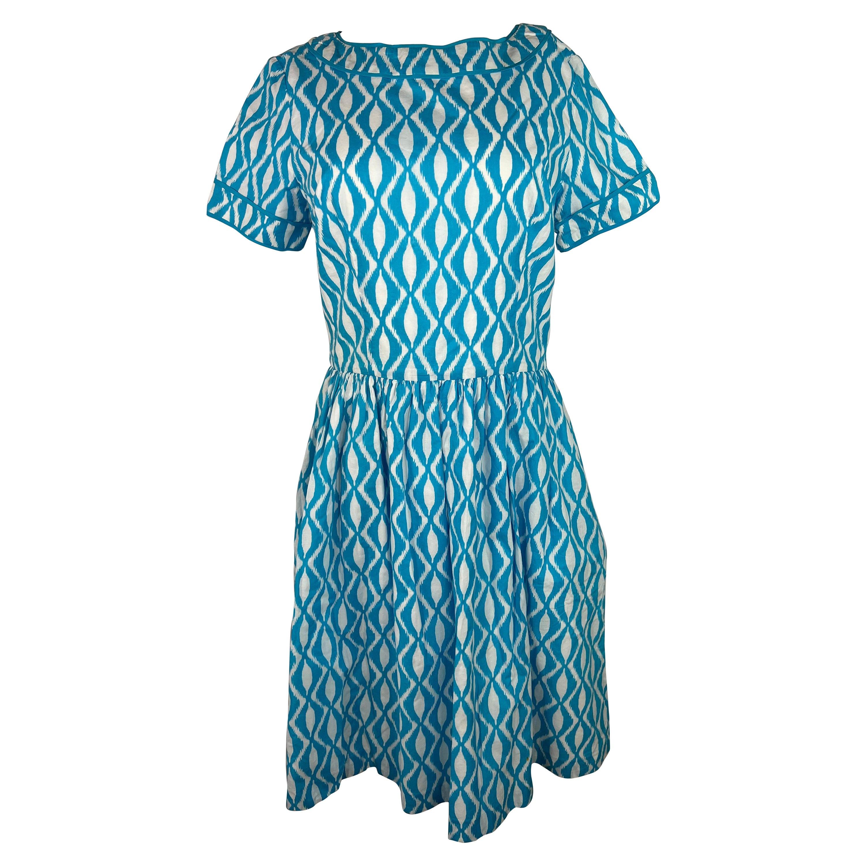 Oscar de la Renta Blue and White Dress, Size 10