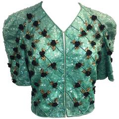 1980s Carolina Herrera Sea Foam Bead and Sequin Encrusted Bolero w/ Resin Roses