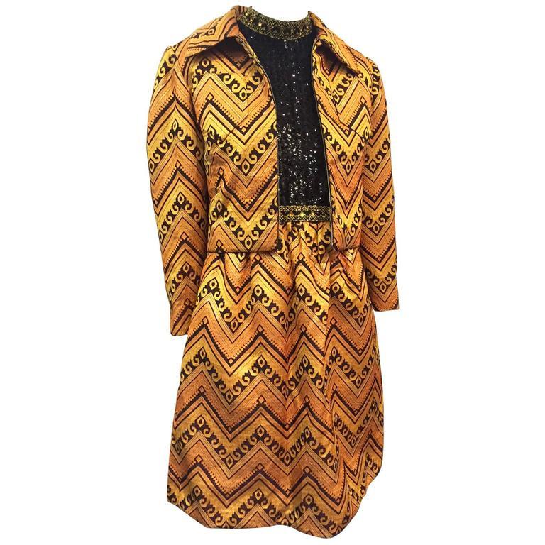 1960s Oscar de La Renta Gold & Black Brocade Cocktail Suit w/ Sequin Bodice 1