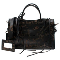 Balenciaga Blackout City Debossed Graffiti Black Leather Shoulder Bag