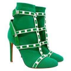 Valentino VLTN White Rockstud Green Sock Heeled Boots - US 7.5