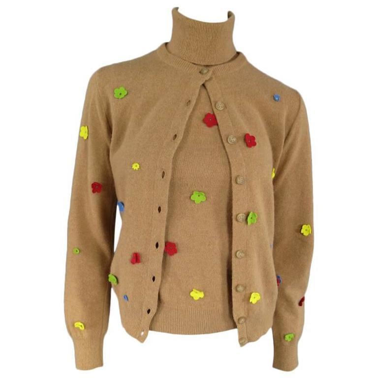 D&G Size S Tan Wool Blend Floral Applique Cardigan Turtleneck ...