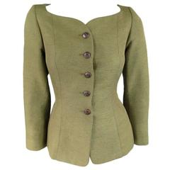 YVES SAINT LAURENT Size 4 Green Silk Sweetheart Boat Neck Jacket