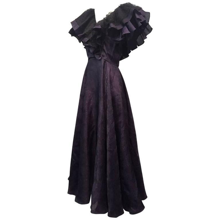 "1980s Oscar de La Renta Aubergine Jacquard ""Antebellum"" Style Ruffled Gown 1"