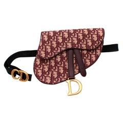 Christian Dior Burgundy Oblique Jacquard Mini Saddle Belt Bag
