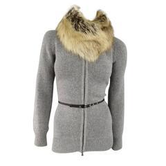 PRADA Size 6 Grey Wool / Cashmere Fox Collar Zip Jacket Leather Elbow Pads