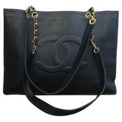 1990s CHANEL Black Calf Leather Jumbo Chain Tote Bag