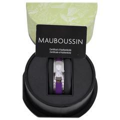 MAUBOUSSIN Stainless Steel LADY M WRIST WATCH Purple GrosGrain Bracelet w/ BOX