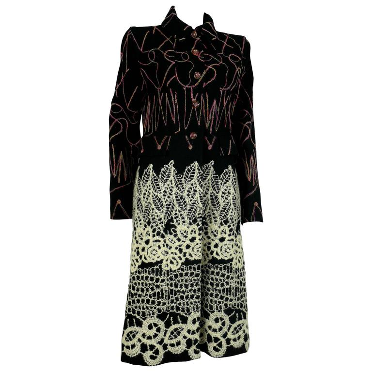 Christian Lacroix Vintage Wool Blend Coat with Appliqué and Embroideries